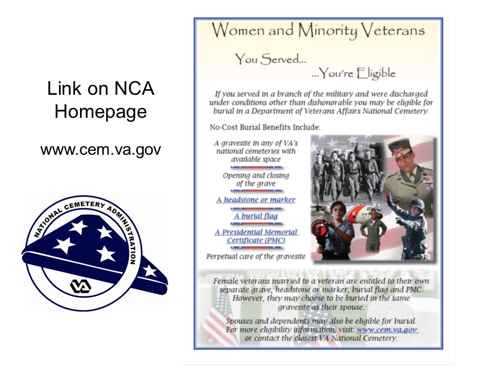 Link on NCA Homepage www.cem.va.gov