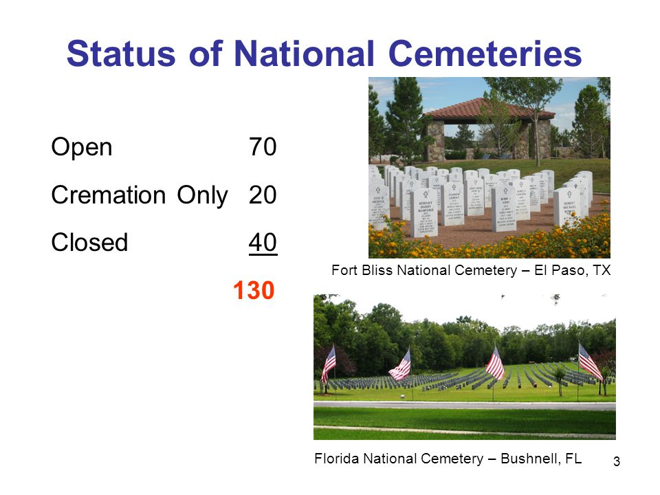 3 Status of National Cemeteries Open 70 Cremation Only 20 Closed 40 130 Fort Bliss National Cemetery – El Paso, TX Florida National Cemetery – Bushnell, FL