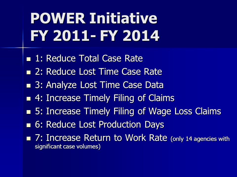POWER Initiative FY 2011- FY 2014 1: Reduce Total Case Rate 1: Reduce Total Case Rate 2: Reduce Lost Time Case Rate 2: Reduce Lost Time Case Rate 3: A