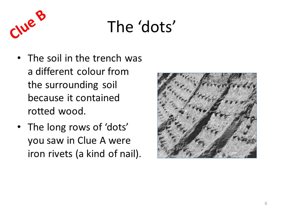 The 'dots' The soil in the trench was a different colour from the surrounding soil because it contained rotted wood.
