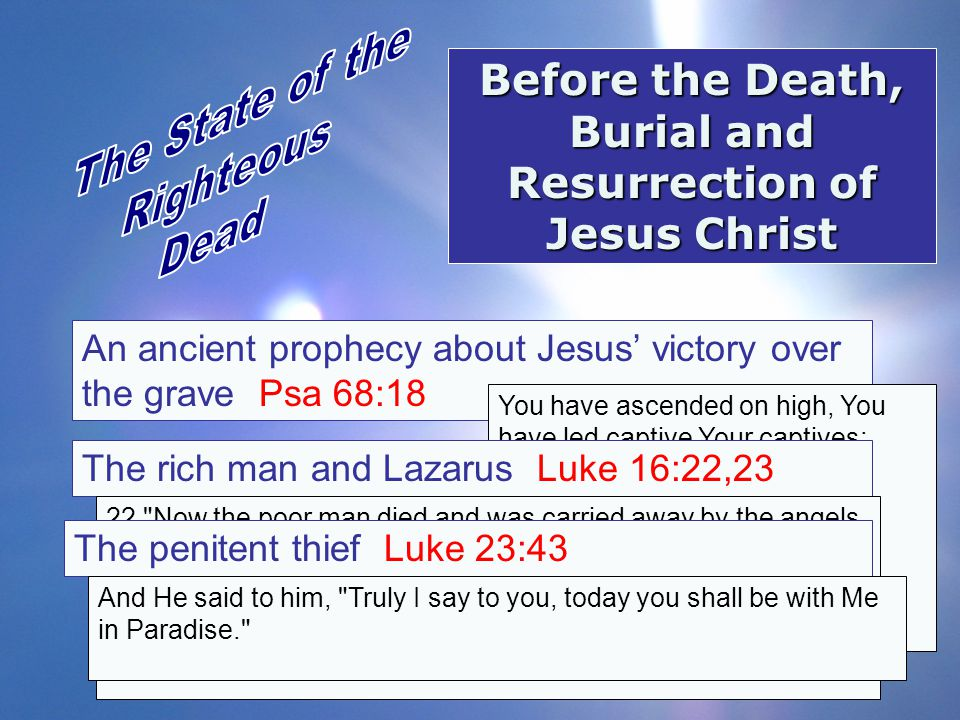 Before the Death, Burial and Resurrection of Jesus Christ An ancient prophecy about Jesus' victory over the grave Psa 68:18 You have ascended on high,
