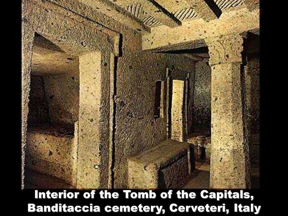 Interior of the Tomb of the Capitals, Banditaccia cemetery, Cerveteri, Italy