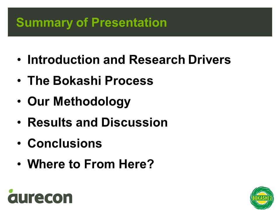Summary of Presentation Introduction and Research Drivers The Bokashi Process Our Methodology Results and Discussion Conclusions Where to From Here