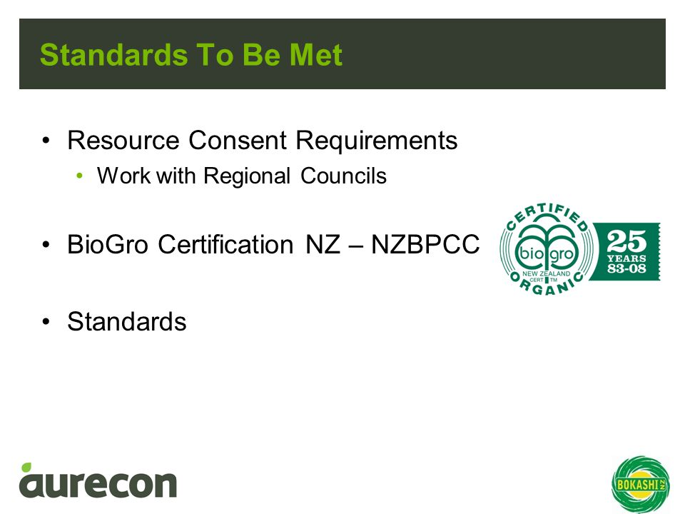 Standards To Be Met Resource Consent Requirements Work with Regional Councils BioGro Certification NZ – NZBPCC Standards