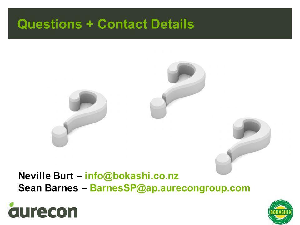 Questions + Contact Details Neville Burt – info@bokashi.co.nz Sean Barnes – BarnesSP@ap.aurecongroup.com