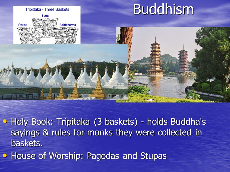 Buddhism Buddhism Holy Book: Tripitaka (3 baskets) - holds Buddha s sayings & rules for monks they were collected in baskets.