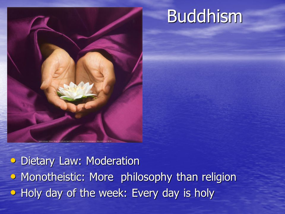 Buddhism Dietary Law: Moderation Dietary Law: Moderation Monotheistic: More philosophy than religion Monotheistic: More philosophy than religion Holy day of the week: Every day is holy Holy day of the week: Every day is holy
