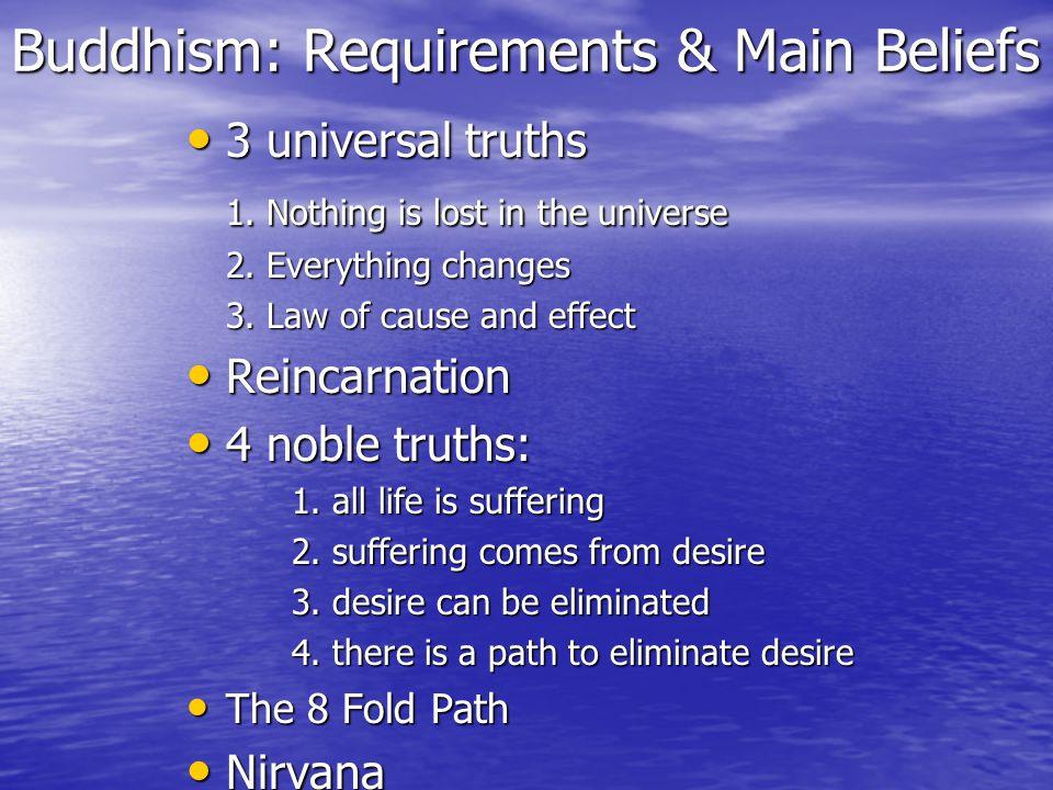 Buddhism: Requirements & Main Beliefs 3 universal truths 3 universal truths 1.