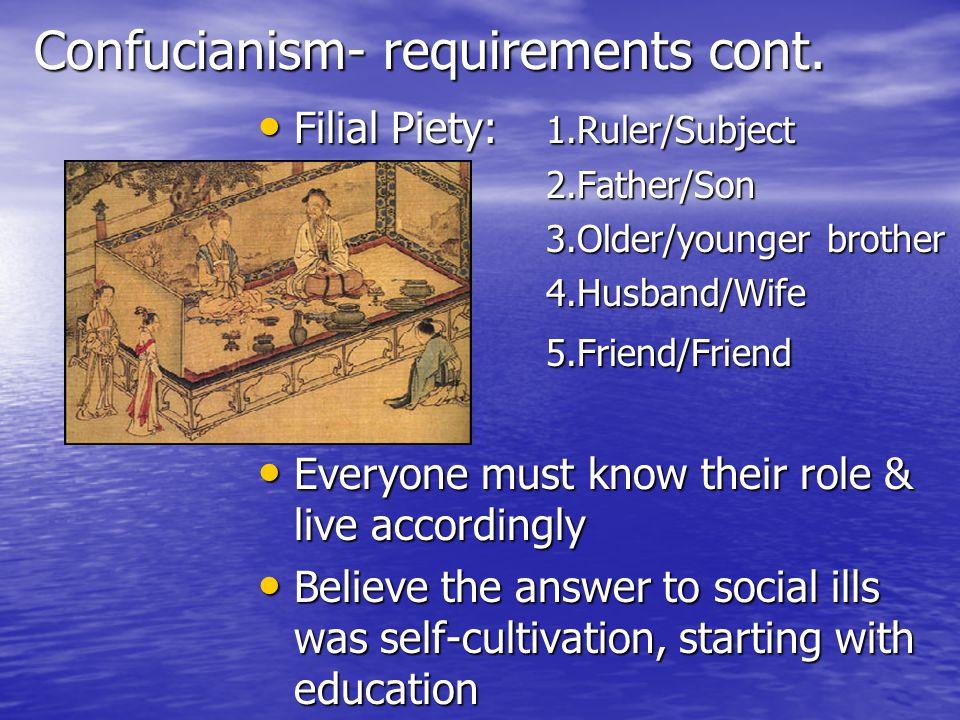 Confucianism- requirements cont.