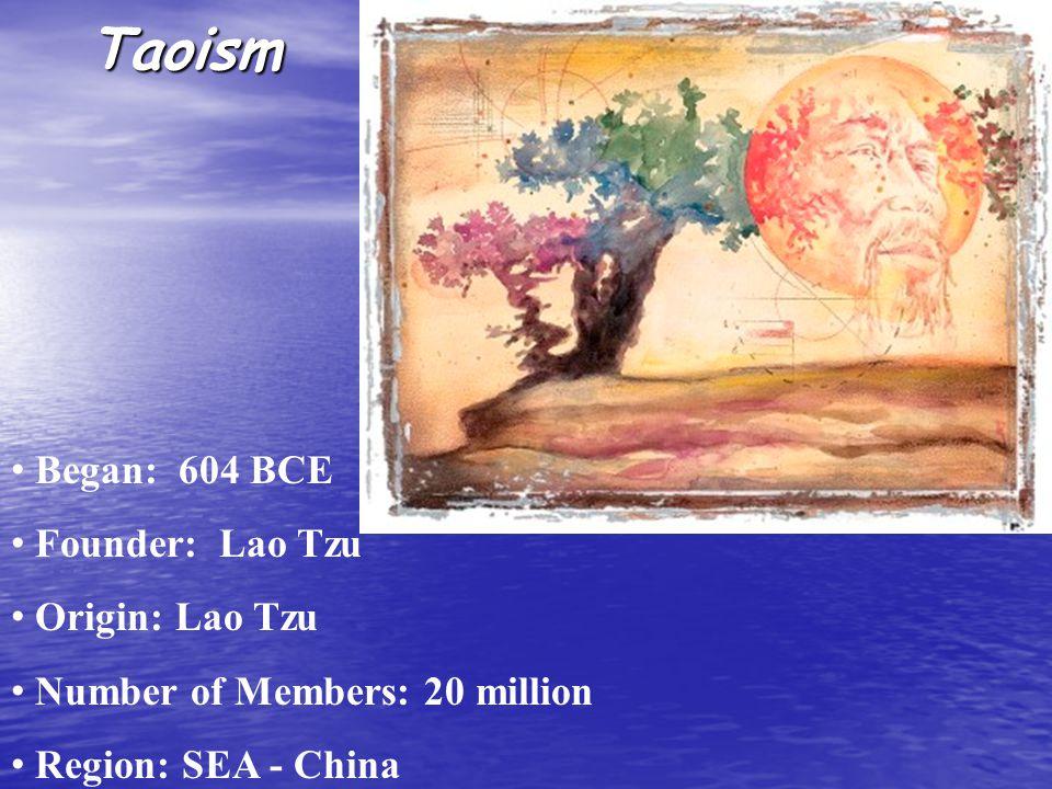 Taoism Began: 604 BCE Founder: Lao Tzu Origin: Lao Tzu Number of Members: 20 million Region: SEA - China