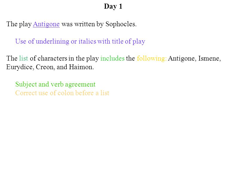 Day 1 The play Antigone was written by Sophocles. Use of underlining or italics with title of play The list of characters in the play includes the fol