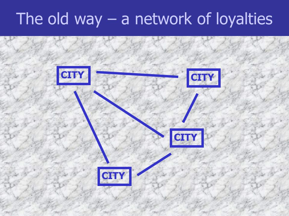 The old way – a network of loyalties CITY