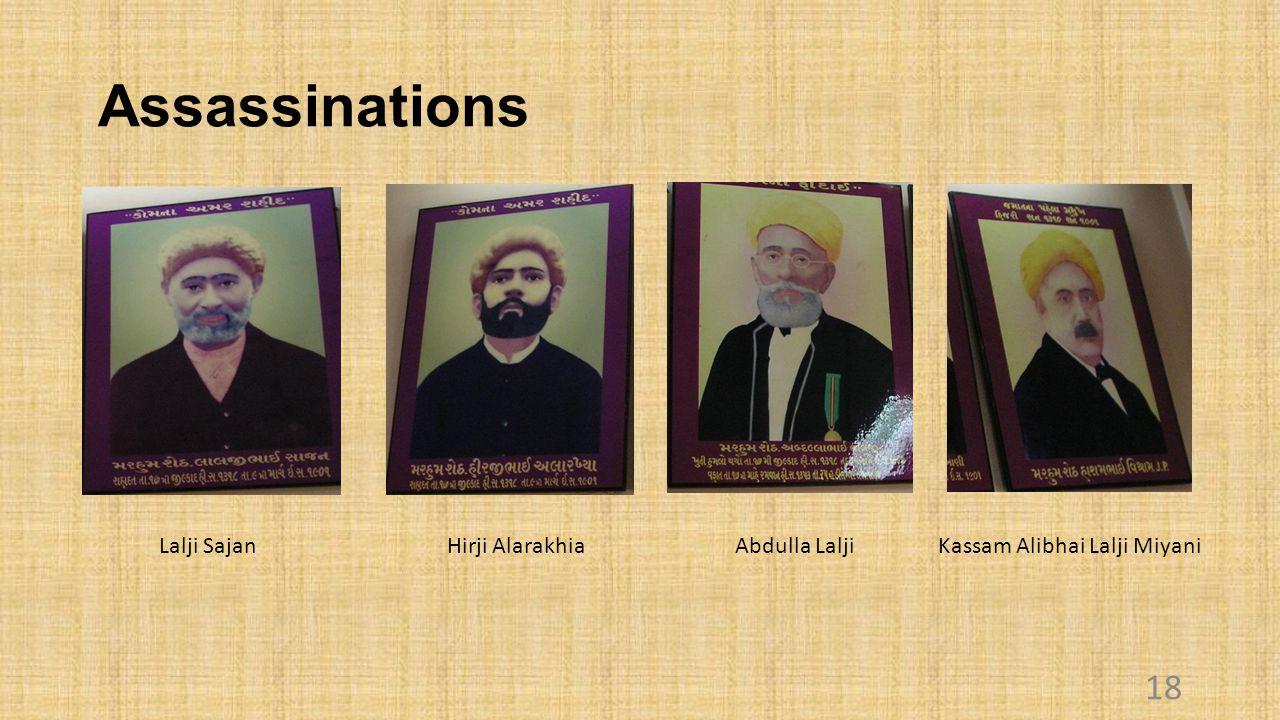 Assassinations 18 Lalji SajanHirji AlarakhiaAbdulla Lalji Kassam Alibhai Lalji Miyani