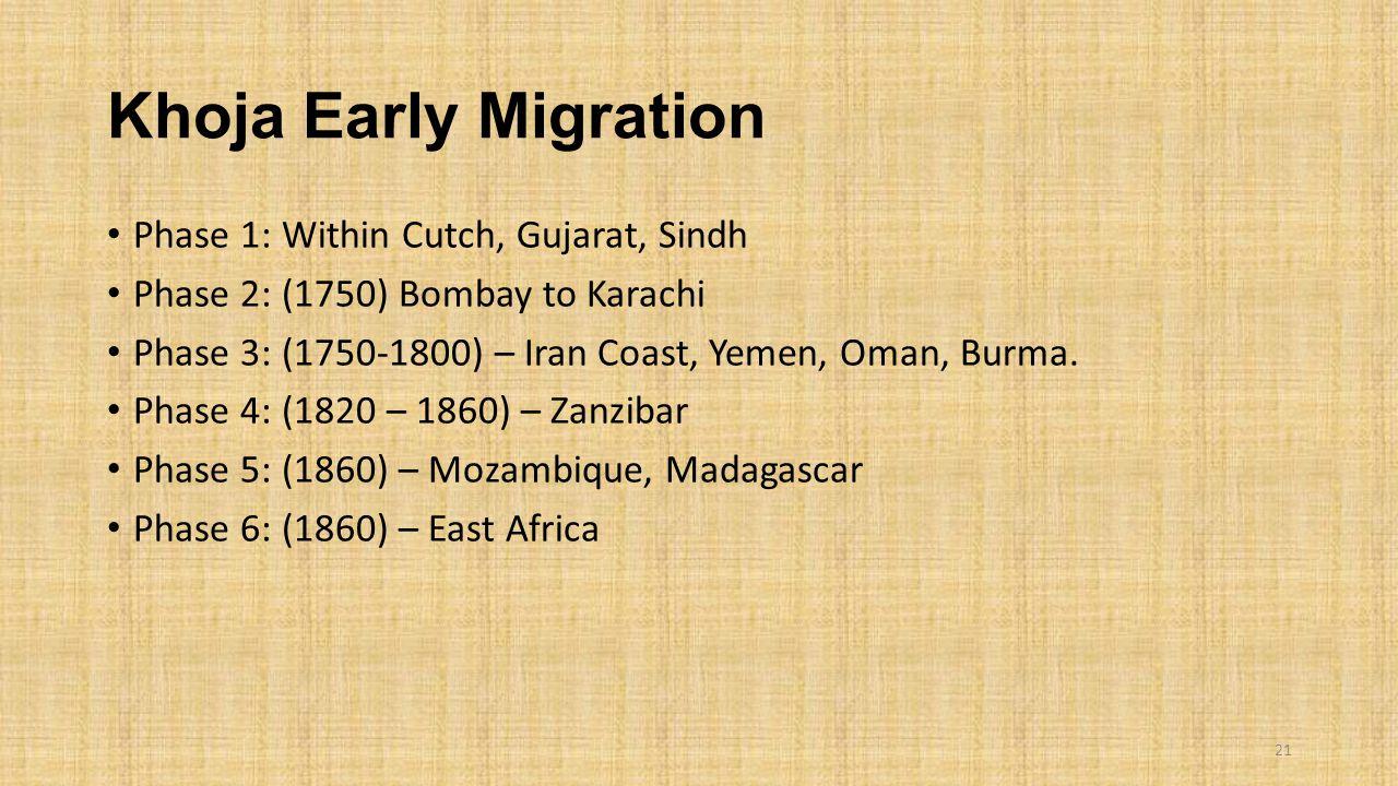 Khoja Early Migration Phase 1: Within Cutch, Gujarat, Sindh Phase 2: (1750) Bombay to Karachi Phase 3: (1750-1800) – Iran Coast, Yemen, Oman, Burma. P
