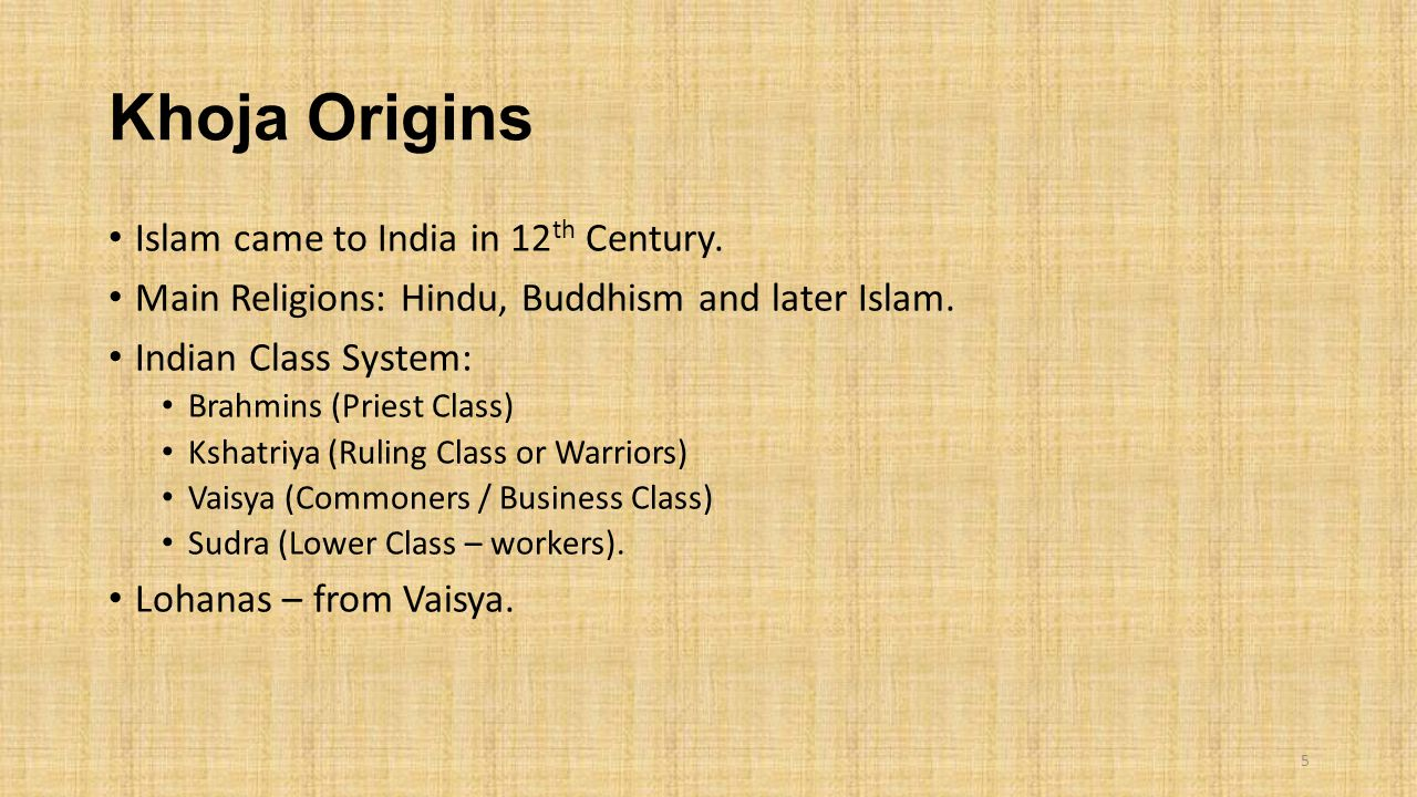 Khoja Origins Islam came to India in 12 th Century. Main Religions: Hindu, Buddhism and later Islam. Indian Class System: Brahmins (Priest Class) Ksha