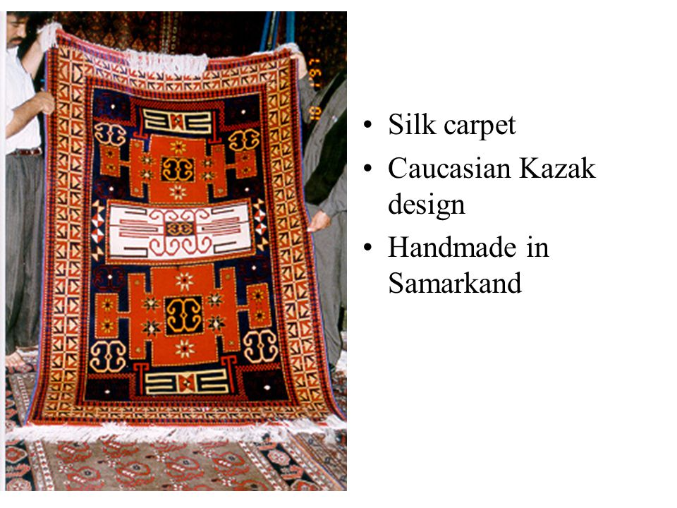 Silk carpet Caucasian Kazak design Handmade in Samarkand