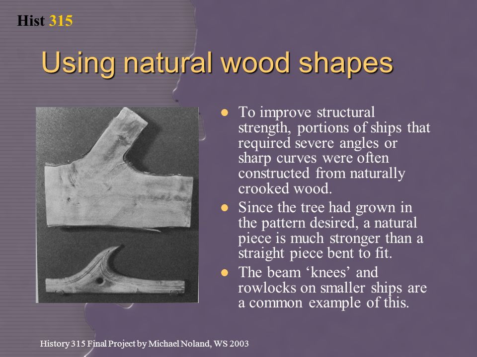 Hist 315 History 315 Final Project by Michael Noland, WS 2003 Using natural wood shapes To improve structural strength, portions of ships that required severe angles or sharp curves were often constructed from naturally crooked wood.