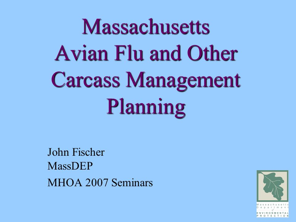 Massachusetts Avian Flu and Other Carcass Management Planning John Fischer MassDEP MHOA 2007 Seminars