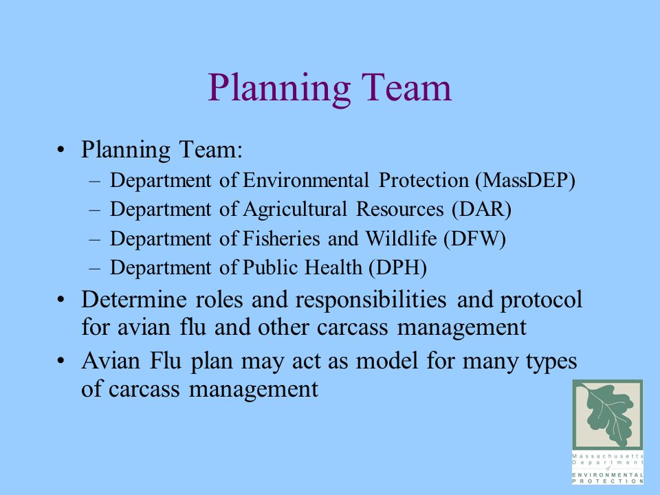 Planning Team Planning Team: –Department of Environmental Protection (MassDEP) –Department of Agricultural Resources (DAR) –Department of Fisheries and Wildlife (DFW) –Department of Public Health (DPH) Determine roles and responsibilities and protocol for avian flu and other carcass management Avian Flu plan may act as model for many types of carcass management