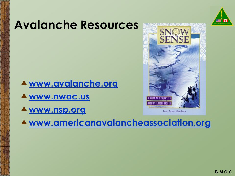 B M O C Avalanche Resources  www.avalanche.org www.avalanche.org  www.nwac.us www.nwac.us  www.nsp.org www.nsp.org  www.americanavalancheassociation.org www.americanavalancheassociation.org