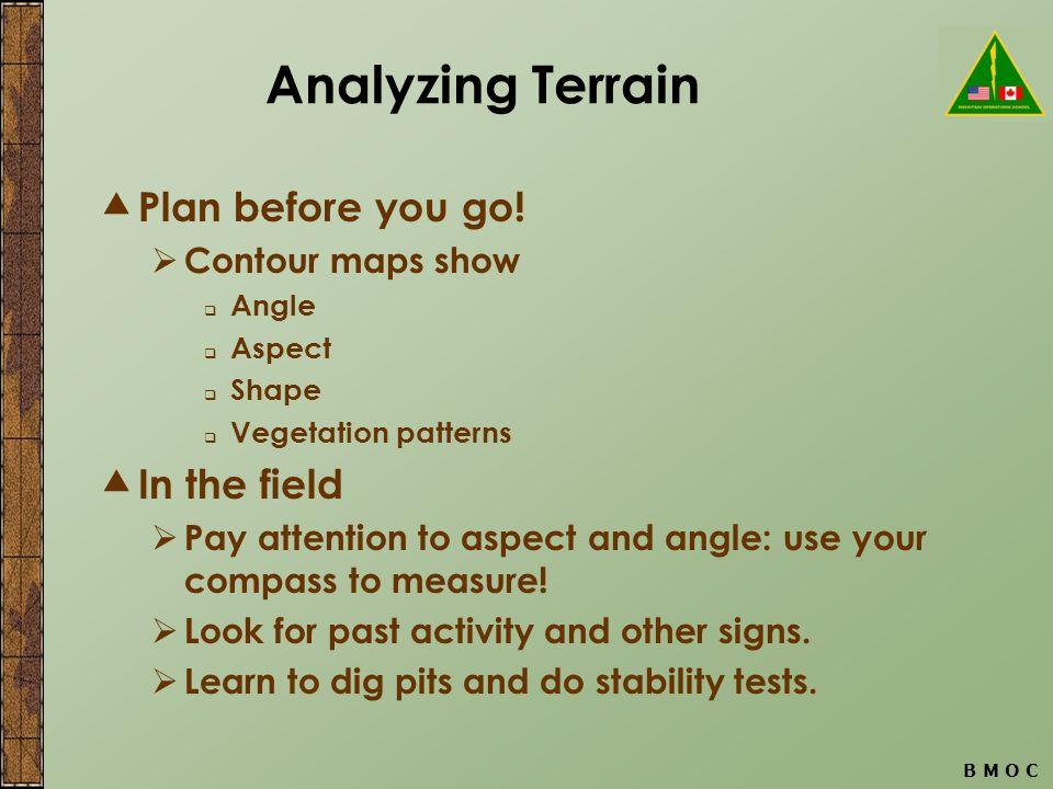 B M O C Analyzing Terrain  Plan before you go.