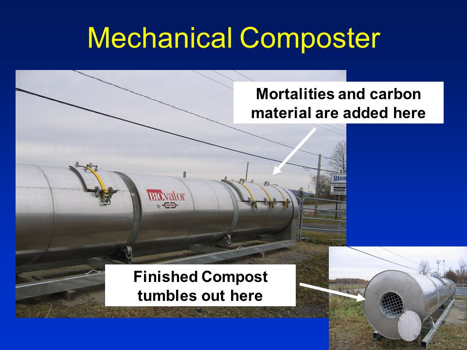 Mechanical Composter Mortalities and carbon material are added here Finished Compost tumbles out here