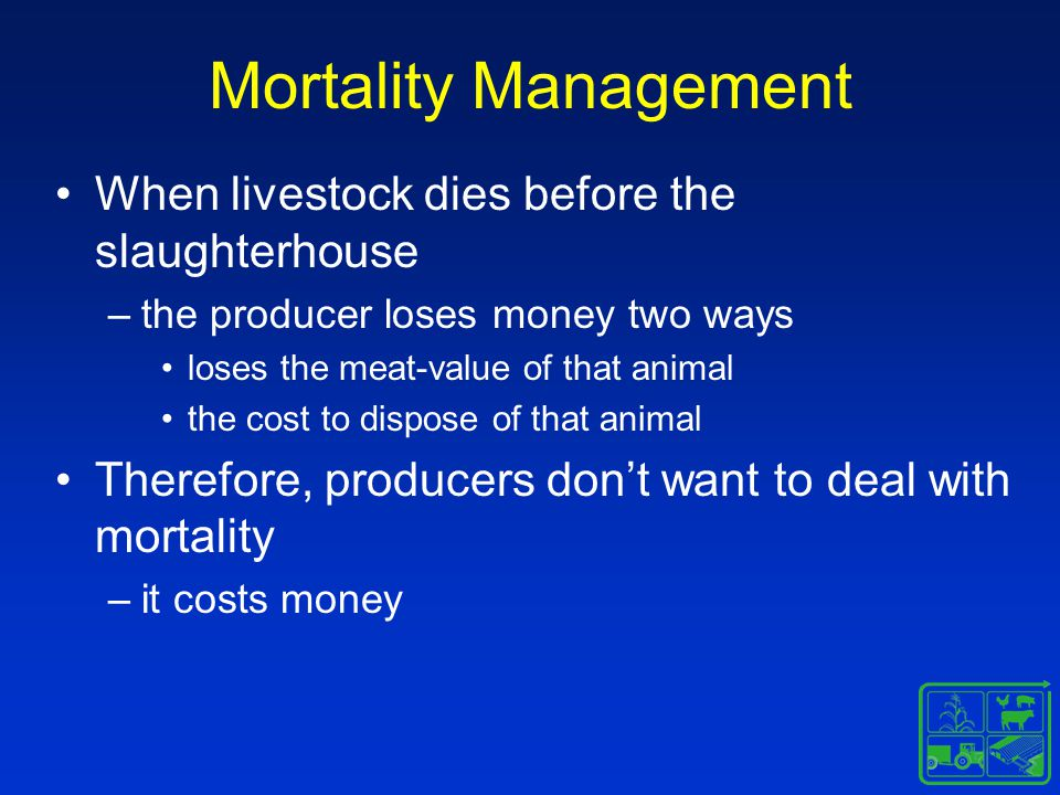 Mortality Management by Rendering Disadvantages Increases sanitary precautions to prevent disease transmission Storage of animals is required until pickup.