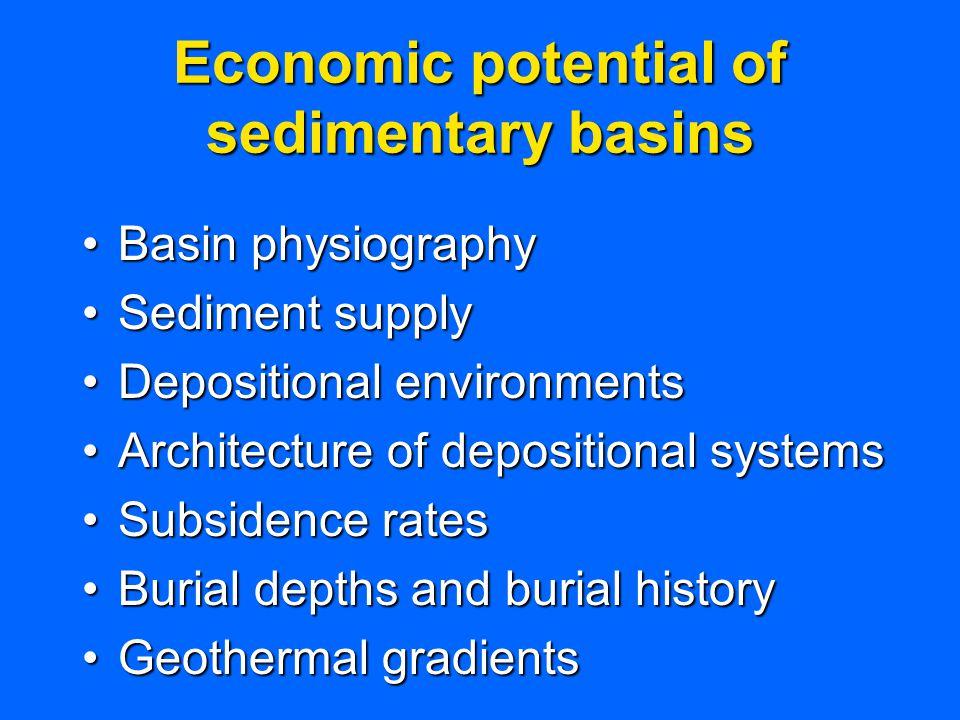 Economic potential of sedimentary basins Basin physiographyBasin physiography Sediment supplySediment supply Depositional environmentsDepositional env