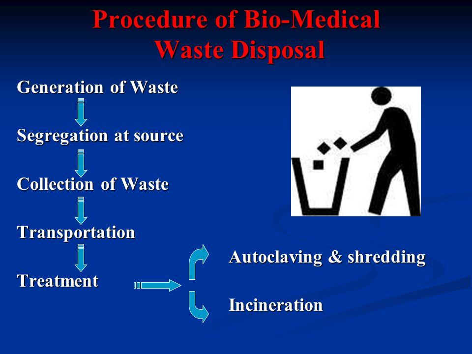 Procedure of Bio-Medical Waste Disposal Generation of Waste Segregation at source Collection of Waste Transportation Autoclaving & shredding Autoclaving & shreddingTreatment Incineration Incineration