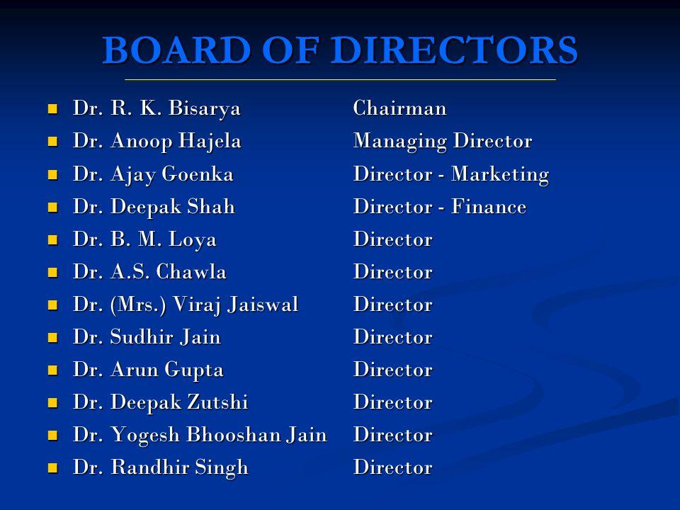 BOARD OF DIRECTORS Dr. R. K. Bisarya Dr. R. K. Bisarya Dr. Anoop Hajela Dr. Anoop Hajela Dr. Ajay Goenka Dr. Ajay Goenka Dr. Deepak Shah Dr. Deepak Sh