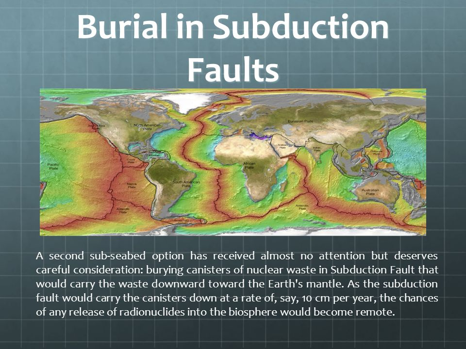 Burial in Subduction Faults A second sub-seabed option has received almost no attention but deserves careful consideration: burying canisters of nucle