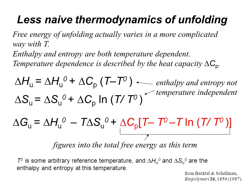 Less naive thermodynamics of unfolding  H u =  H u 0 +  C p (T–T 0 )  S u =  S u 0 +  C p ln (T/ T 0 )  G u =  H u 0 – T  S u 0 +  C p [T– T 0 –T ln (T/ T 0 )] T 0 is some arbitrary reference temperature, and  H u 0 and  S u 0 are the enthalpy and entropy at this temperature.