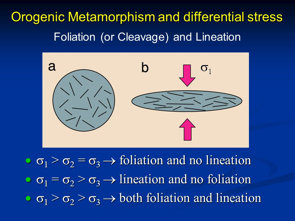 Orogenic Metamorphism and differential stress  1 >  2 =  3  foliation and no lineation  1 =  2 >  3  lineation and no foliation  1 >  2 >