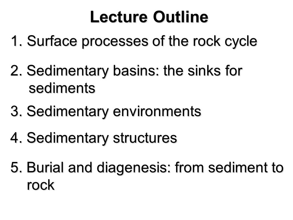 Lecture Outline 6.Classification of siliciclastic sediments and sedimentary rocks 7.