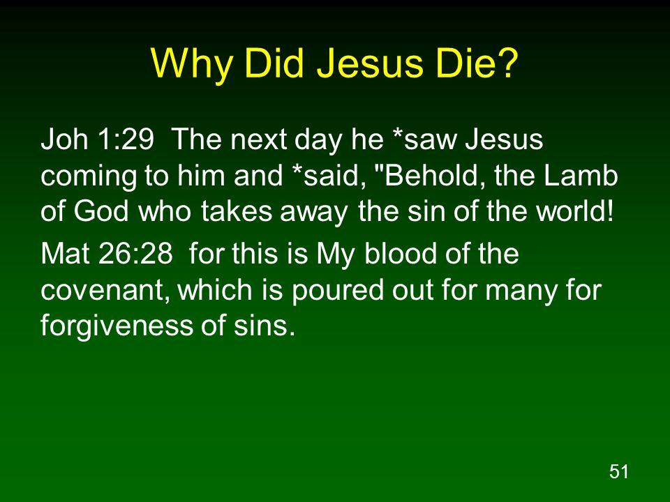 51 Why Did Jesus Die.