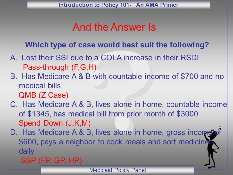 Introduction to Policy 101- An AMA Primer Medicaid Policy Panel And the Answer Is Which type of case would best suit the following? A. Lost their SSI