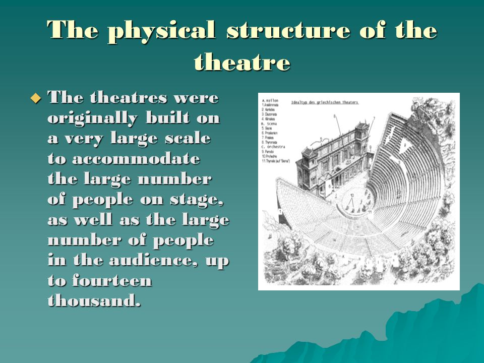 The physical structure of the theatre  The theatres were originally built on a very large scale to accommodate the large number of people on stage, as well as the large number of people in the audience, up to fourteen thousand.