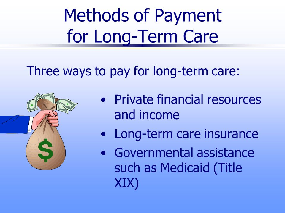 Methods of Payment for Long-Term Care Three ways to pay for long-term care: Private financial resources and income Long-term care insurance Governmental assistance such as Medicaid (Title XIX)