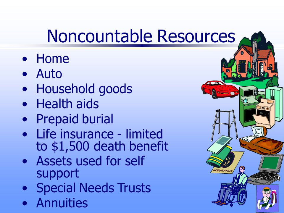 Noncountable Resources Home Auto Household goods Health aids Prepaid burial Life insurance - limited to $1,500 death benefit Assets used for self support Special Needs Trusts Annuities