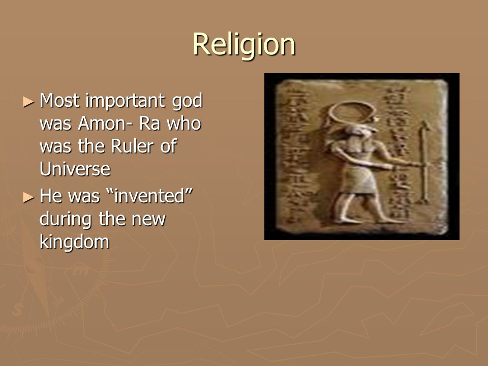 Religion ► Originally-Ra was the supreme royal god.