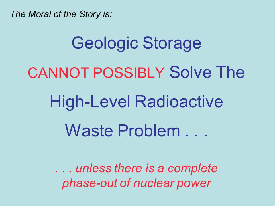 Geologic Storage CANNOT POSSIBLY Solve The High-Level Radioactive Waste Problem......