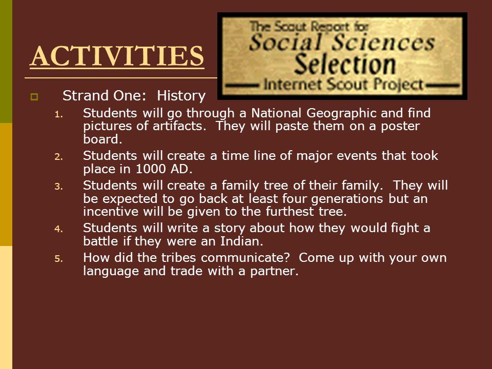 ACTIVITIES  Strand One: History 1.