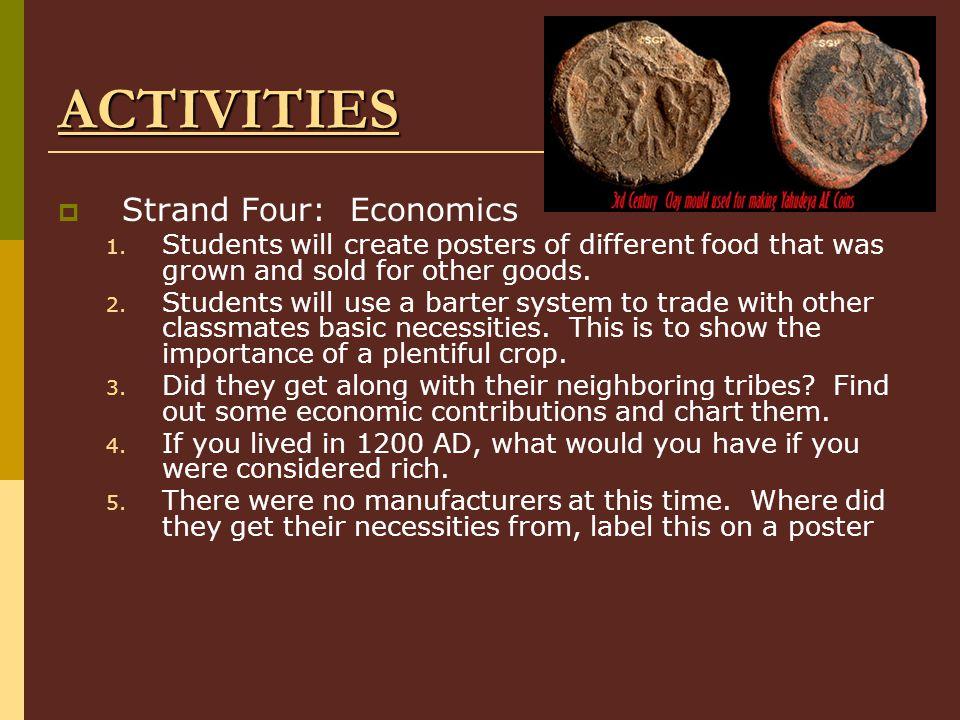 ACTIVITIES  Strand Four: Economics 1.