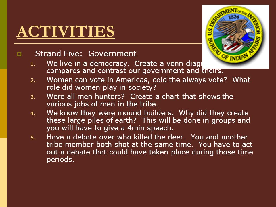 ACTIVITIES  Strand Five: Government 1.We live in a democracy.