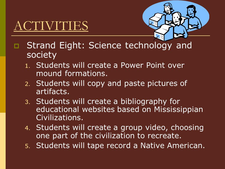 ACTIVITIES  Strand Eight: Science technology and society 1.