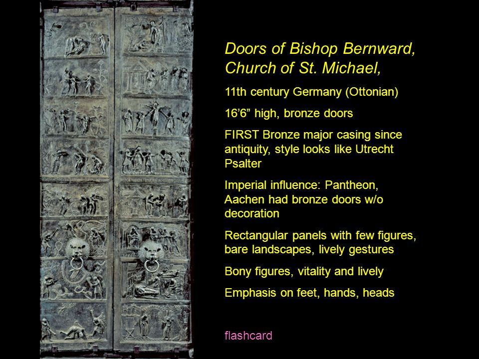"Doors of Bishop Bernward, Church of St. Michael, 11th century Germany (Ottonian) 16'6"" high, bronze doors FIRST Bronze major casing since antiquity, s"