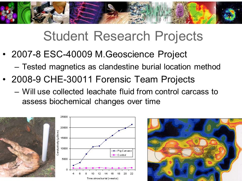 Student Research Projects 2007-8 ESC-40009 M.Geoscience Project –Tested magnetics as clandestine burial location method 2008-9 CHE-30011 Forensic Team Projects –Will use collected leachate fluid from control carcass to assess biochemical changes over time