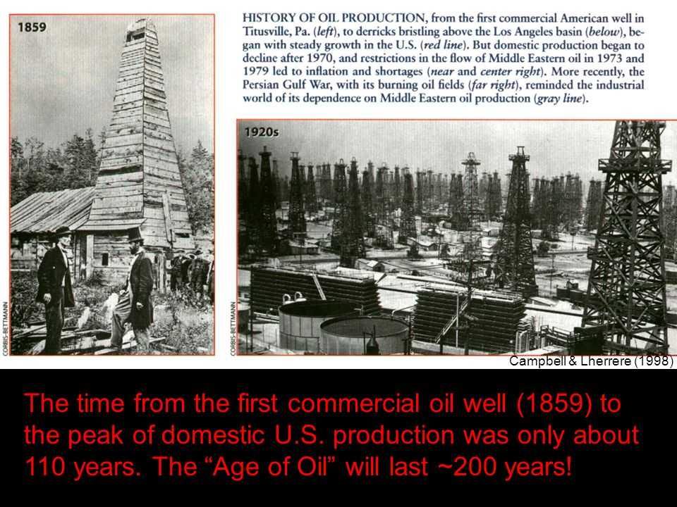"The time from the first commercial oil well (1859) to the peak of domestic U.S. production was only about 110 years. The ""Age of Oil"" will last ~200 y"