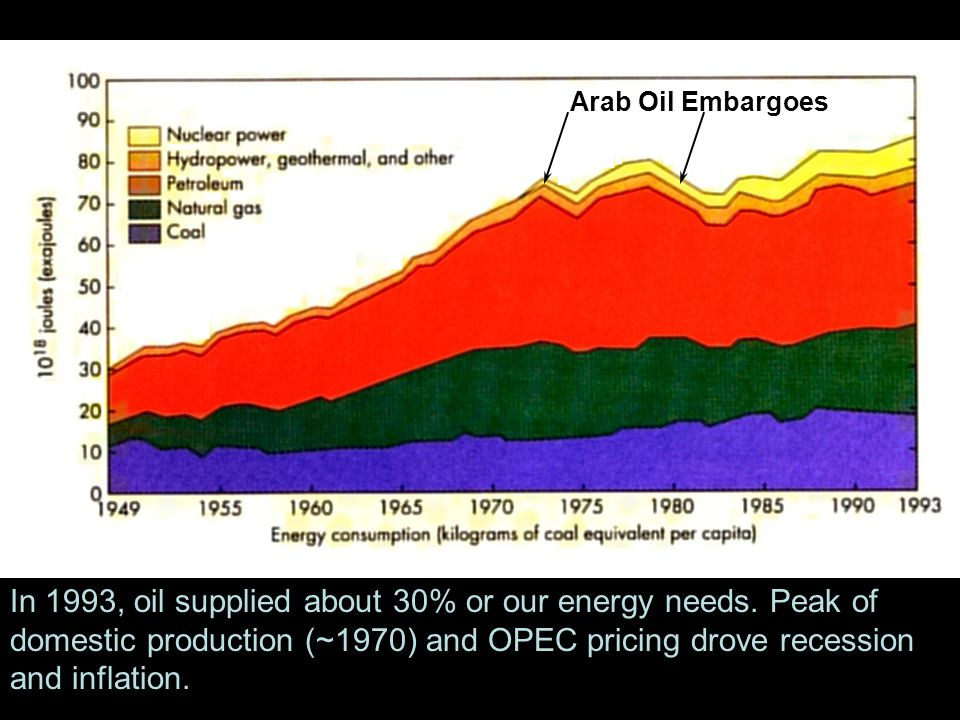 In 1993, oil supplied about 30% or our energy needs.
