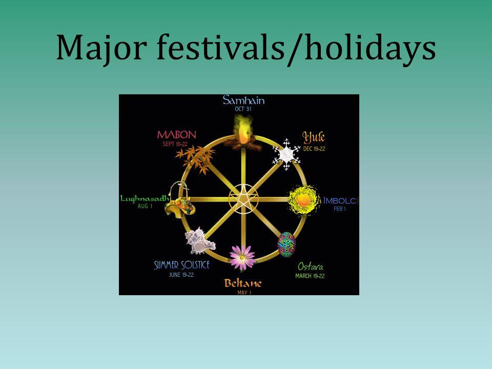 Major festivals/holidays
